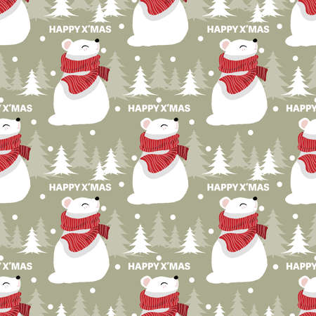 Christmas holidays season seamless pattern of cute polar bear in red scarf with snowflakes, pine tree and HAPPY XMAS text. Vector illustration design for greeting season.