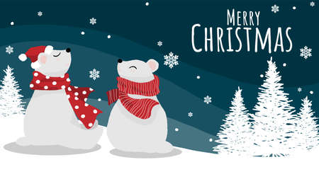 Christmas holidays season background of cute polar bears in Santa hat and red scarf on snow hill with snowflakes and Merry Christmas text. Vector illustration design for greeting season. Ilustracja