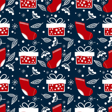Christmas elements background of Red sock, gift box, berries, leaves and snowflakes ornate seamless pattern for greeting cards, wrapping papers etc. Vector illustration design for greeting season.