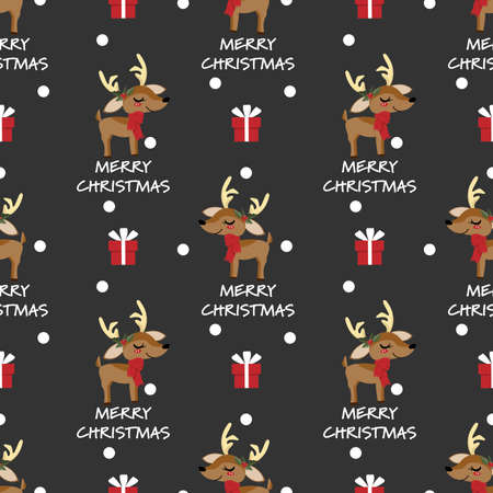 Cute Reindeer wearing red scarf and holly berries branch, gift box and Merry Christmas text  seamless pattern. Design for greeting season, Christmas, New Year or Winter Holidays season. Vector illustration.