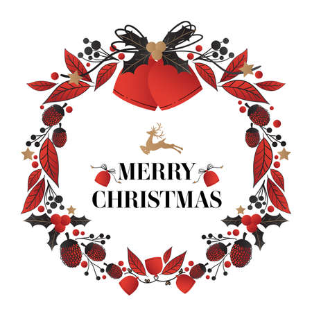 Christmas wreath decorated of Christmas bells with holly berries branch and ribbon, pine nut, leaves and berries with Merry Christmas text on white background. Vector illustration. Ilustracja