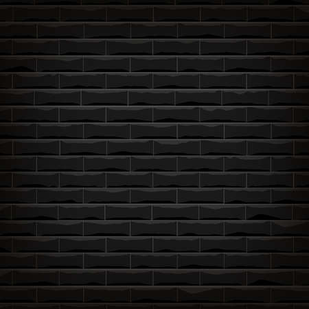 Vector illustration background of the black brick wall  with shadow around frame and bright on the middle area. 向量圖像