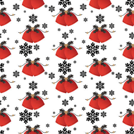 Christmas holiday season seamless pattern of Christmas bells decorative with holly berries and snowflakes. Design for greeting season or party invitation, for Christmas, New Year or Winter Holidays season. Vector illustration.