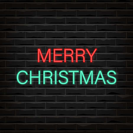 Vector illustration background of the black brick wall with Merry Christmas text neon sign. Night bright neon sign, light banner. Vector illustration in neon style. 向量圖像