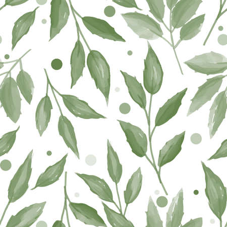 Seamless pattern with cute leaves on white background. Vector illustration  in watercolor style.
