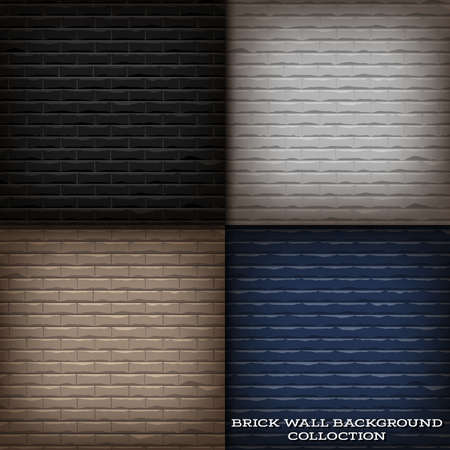 Vector illustration background of brick wall background collection with shadow around frame and bright on the middle area.