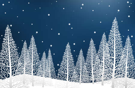 Vector illustration of landscape with pine trees on snow hill on sky with snow falling. Design for Merry Christmas, New Year or Winter holidays greeting season card or banner. 向量圖像