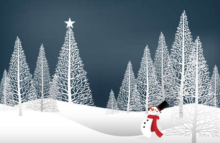 Vector illustration of landscape with pine trees and snowman on snow hill and on  sky with snow falling. Design for Merry Christmas, Happy New Year or Happy Holidays Greeting card or banner.