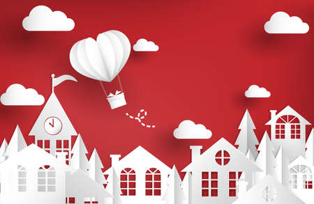 Urban landscape of city village with hot air balloon in heart shape. Design for Valentines Day greeting card or banner. Paper art and craft style. Vector illustration.