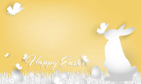 Vector illustration of Happy Easter text with rainbow egg and a rabbit on grass, butterfly and flower in the garden. Easter Day Paper art style. Digital craft design.
