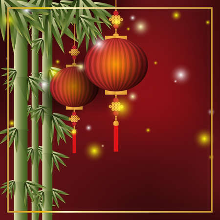 Two Chinese red lanterns hanging on bamboo tree on red background with gold color frame with your copy space. Vector illustrator for Chinese New Year background or banner.