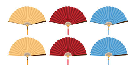 Set of Chinese folding fan in yellow, red and blue color on white background. Vector illustration.