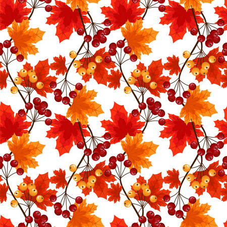 Autumn floral seamless pattern of autumn maple leaves and berries. Vector illustration.