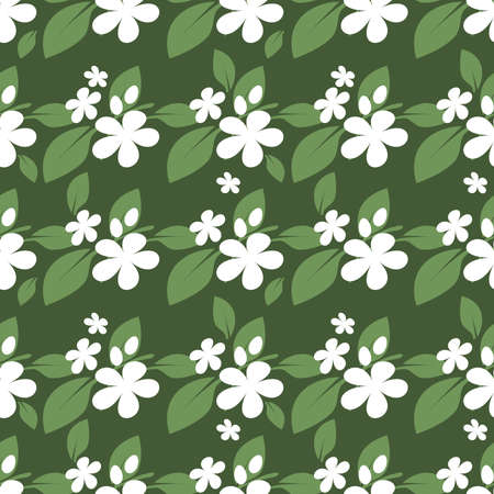 Cute seamless pattern of tiny white flowers with leaves on green background. Vector illustration.