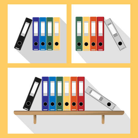 Document Storage Shelves with set of colored ring binders on white background. Office folders collection in flat style. Vector illustration. 向量圖像