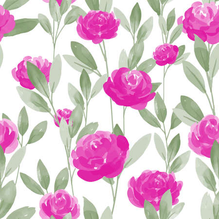 Seamless pattern with pink rose flower branches with leaves on white background. Vector illustration  in watercolor style.