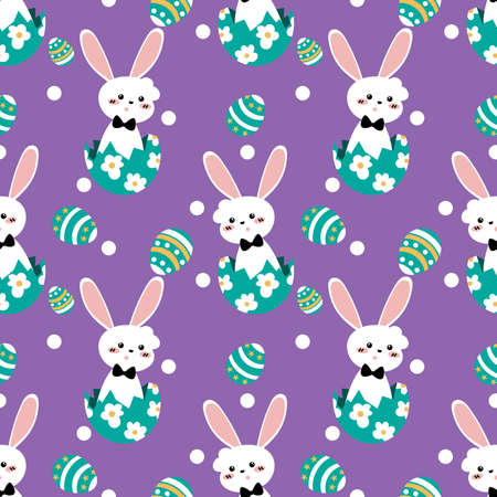 Cute Easter seamless pattern of white rabbit with Easter eggs on purple background. Vector illustration. 向量圖像