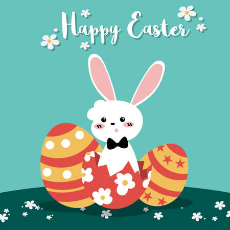 Cute Easter greeting banner of white rabbit with Easter eggs on field with tiny flowers and Happy Easter text. Vector illustration of Easter cartoon.