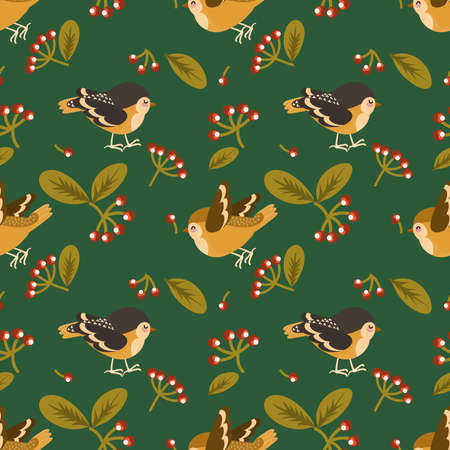 Cute seamless pattern of little bird with berries and leaves on green background. Vector illustration.