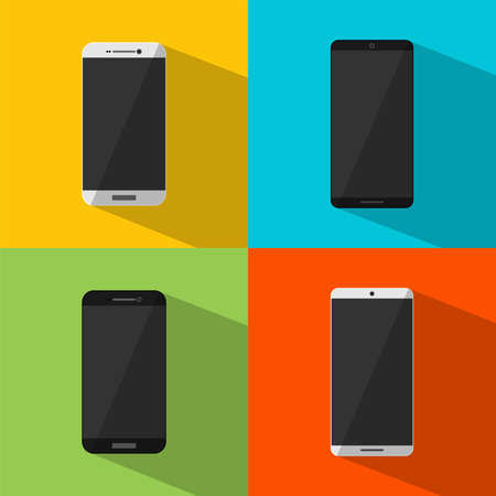 Smartphone icon template collection of Mobile Phone or Handphone in black and white color with shadow on colorful background. Symbol or sign for graphic and web design in flat style. Vector illustration.