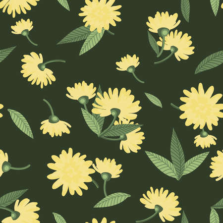 Cute summer flowers seamless pattern of tiny yellow flower with leaves on green background. Vector illustration. 向量圖像