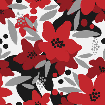 Cute floral seamless pattern of red flower with gray leaves on black and white color background. Vector illustration.