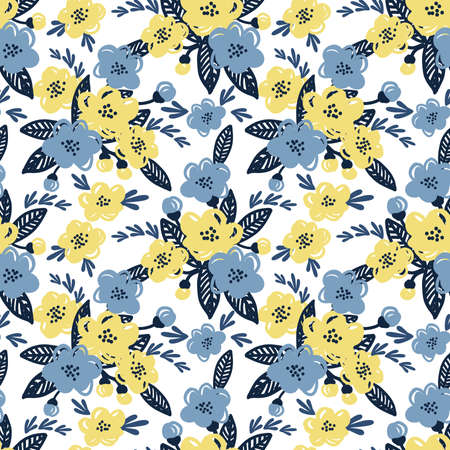 Cute floral seamless pattern of yellow and blue flower with leaves on white color background. Vector illustration.