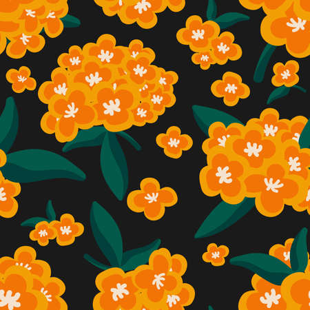 Cute floral seamless pattern of orange flower with leaves on black color background. Vector illustration.