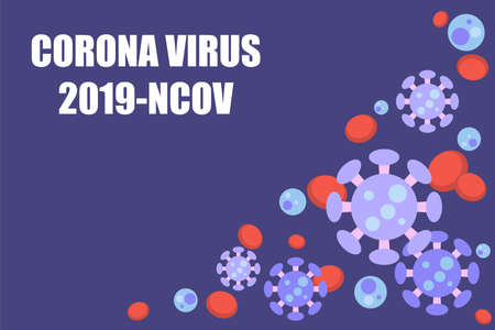 Virus background of Coronavirus (nCoV or COVID-19), Corona virus cell with red blood cell  in flat style on purple background with CORONA VIRUS 2019-NCOV text and your copy space. Vector illustration 向量圖像