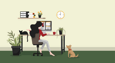 Work form home or work at home concept background of woman working with computer on table in room at her home with a cup of coffee and her pets with your copy space. Stay at home for save from coronavirus disease. Vector illustration. 向量圖像