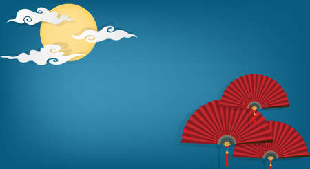 Red Chinese folding fans on blue sky with full moon and clouds background with your copy space. Vector illustrator in flat design for Chinese New Year card or banner. 向量圖像
