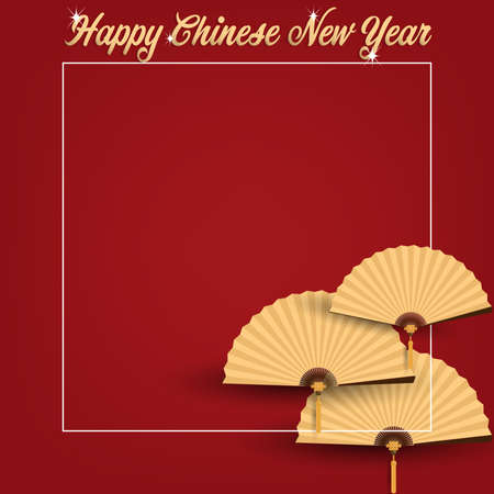 Golden Chinese folding fans and Happy Chinese New Year text on red background. Design for Chinese New Year card or banner. Vector illustration.