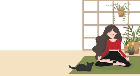 Stay at home in quarantine for be safe and keep calm during a virus outbreak concept. A woman practices in lotus yoga position in her house with her pet with your copy space on white background. Vector illustration