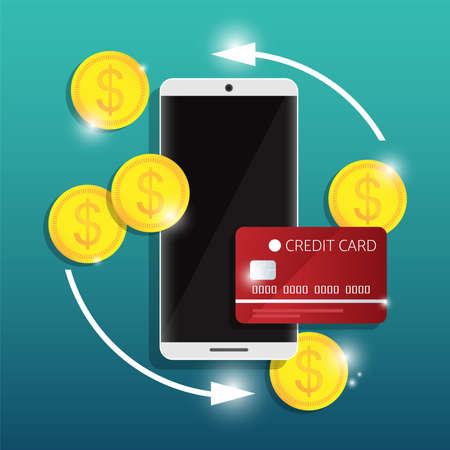 Online mobile banking and internet banking design concept of cashless society with security transaction via credit card or mobile banking. Smart phone with a credit card and dollar coins. Vector illustration.