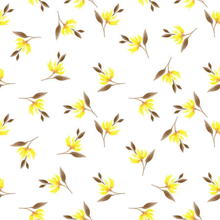 Seamless pattern with cute yellow flower branches with leaves in watercolor style on white background. Vector illustration. 向量圖像