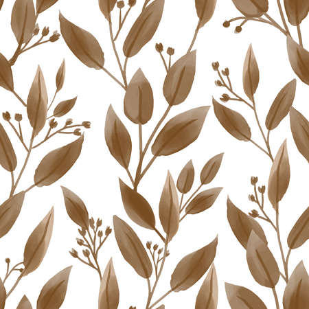 Seamless pattern of cute tiny flower with leaves in watercolor style on white background. Vector illustration.