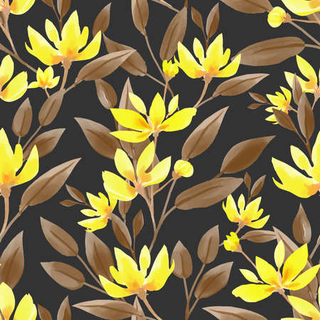 Seamless pattern with cute yellow flower branches with leaves in watercolor style on black background. Vector illustration. 向量圖像