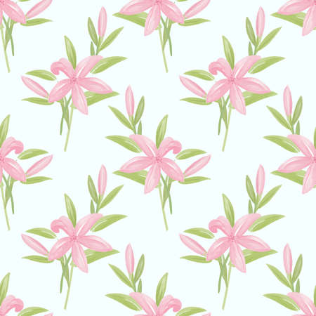 Seamless pattern with cute lily flower branches with leaves in watercolor style on white background. Vector illustration. 向量圖像