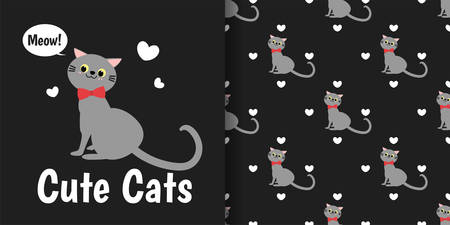 Cute gray cat with red ribbon and tiny white hearts seamless pattern on black background. Vector illustration.