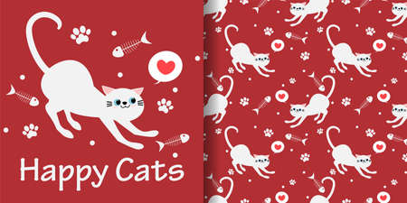 Cute white cat with heart, fish bones, tiny dots and footprints seamless pattern on red background. Vector illustration. 向量圖像