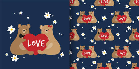 Cute couple brown bears holding red heart with love text and white flowers seamless pattern on blue background. Vector illustration.