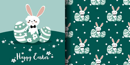 Cute Easter seamless pattern of white rabbit with Easter eggs and white dots on green background. Vector illustration. 向量圖像