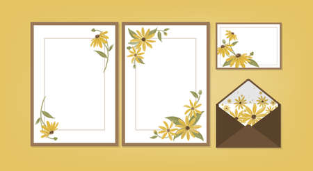 Floral background template collection for Wedding invite, rsvp, thank you label save the date card Design with cute flower and leaves watercolor. Vector illustration.