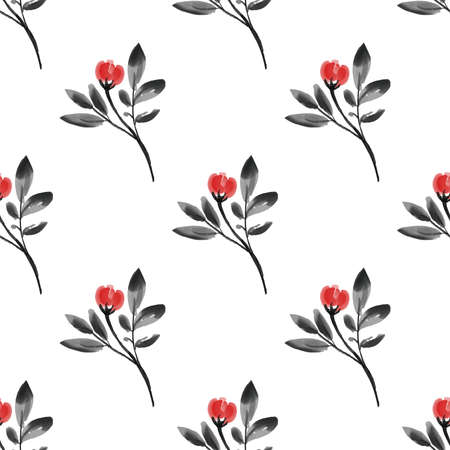 Seamless pattern with tiny flower branches with leaves in watercolor style on white background. Vector illustration.