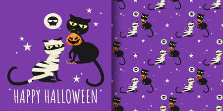 Happy Halloween seamless pattern of cute mummy cat and black cat with Halloween candies in pumpkin basket on purple background with tiny stars. Vector illustration. 向量圖像