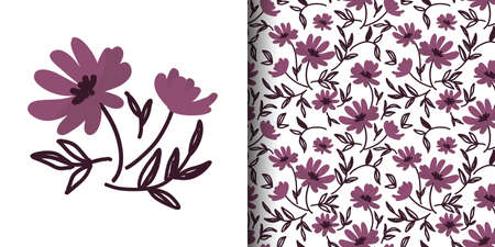 Cute floral seamless pattern of doodle flowers with  leaves on white color background. Vector illustration.