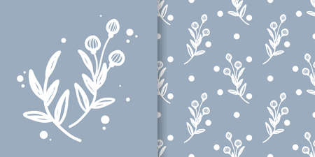 Cute floral seamless pattern of doodle flowers with  leaves on blue color background. Vector illustration. 向量圖像