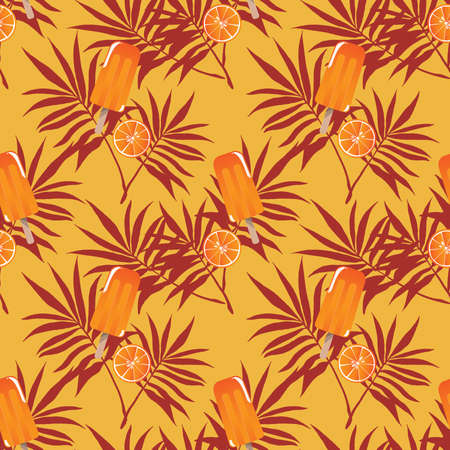 Summer holiday seamless pattern design with ice-cream, leaves and orange for summer season background. Vector illustration. 向量圖像