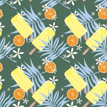 Summer holiday seamless pattern design with ice-cream, tiny flowers, leaves and orange for summer season background. Vector illustration.