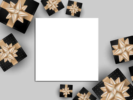 Banner template design background of white frame for your copy space with black gift box with gold ribbons on gray background. Vector illustration. 向量圖像